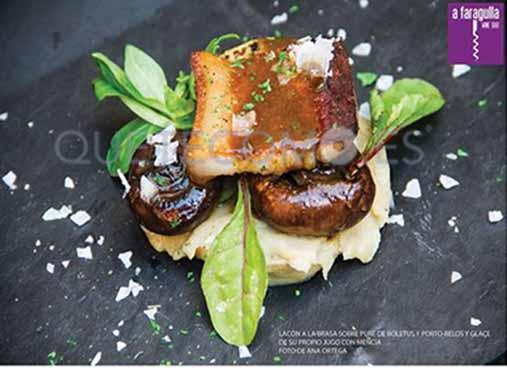 Lacón a la brasa sobre puré de patatas (imagen de Ana Ortega) | Restaurante tapería vinoteca A Faragulla en Chantada